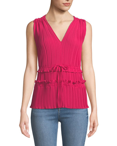 Pleated V-Neck Tank Top with Gathered Details