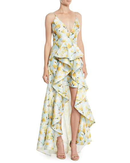 Badgley Mischka Collection Floral-Print Mikado Ruffle High-Low