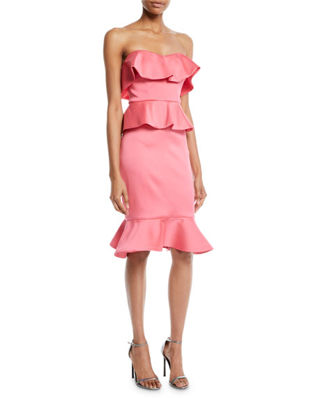 Badgley Mischka Collection Strapless Peplum Cocktail Dress