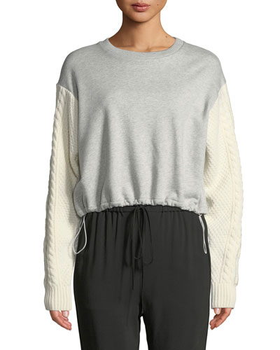 French Terry Crewneck Sweatshirt with Cable-Knit Sleeves