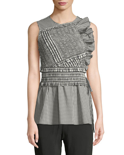 Gathered Gingham Ruffle Tank