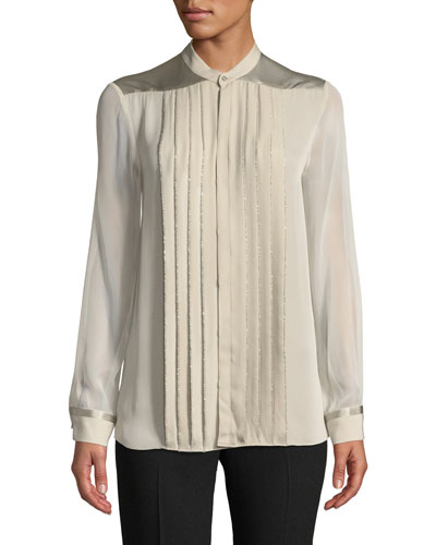 Gilberta Small Chain Pleated Button-Front Silk Blouse