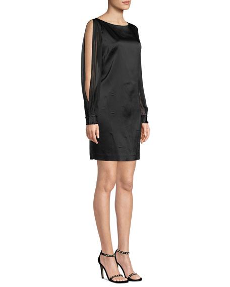 Jilly Boat-Neck Sheer Long-Sleeve Satin Sheath Dress