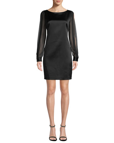 Jilly Boat-Neck Sheer Long-Sleeve Satin Sheath Dress