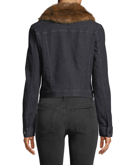 Meggy Denim Jacket w/ Faux-Fur Collar