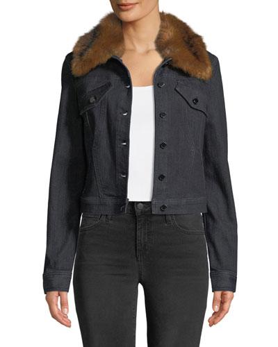 Meggy Denim Jacket w/ Faux-Fur Collar