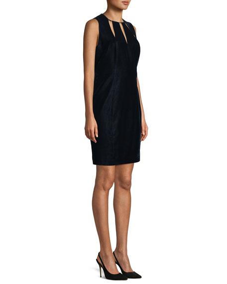 Jemra Sleeveless Velvet Sheath Dress