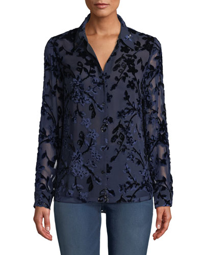 Martha Long-Sleeve Button-Front Floral Devore Velvet Blouse