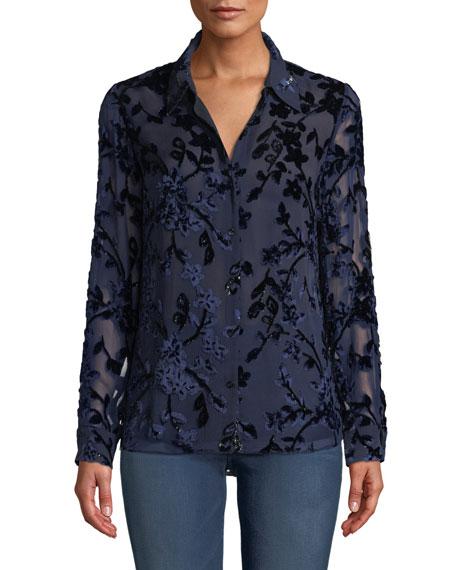 Elie Tahari Martha Long-Sleeve Button-Front Floral Devore Velvet