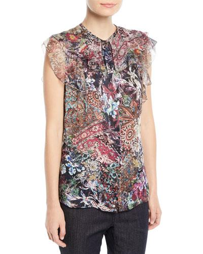 Mala Sleeveless Printed Silk Blouse