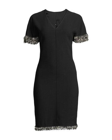 Merci Cape-Sleeve Sheath Dress with Beaded Fringe
