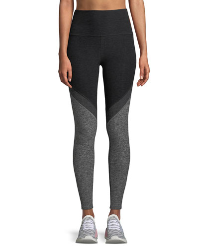 Tri-Panel Space-Dye High-Waist Midi Legging