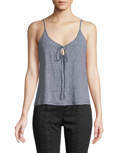 Gia Striped Linen Keyhole Tank Top
