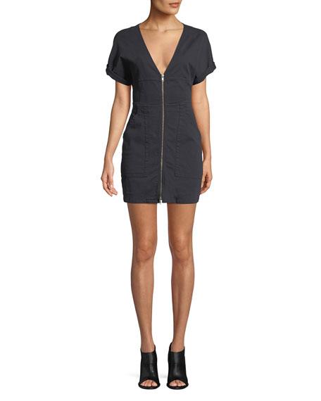 Novak Zip-Front Mini Dress in Black