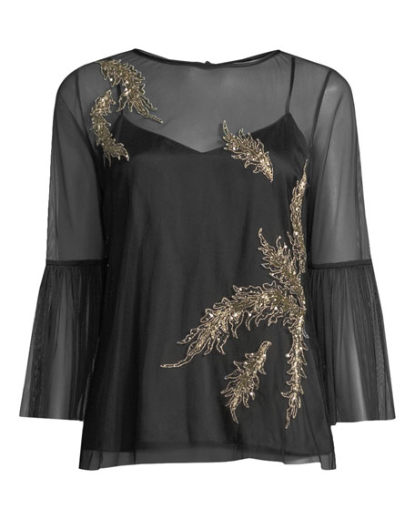 Adela Embroidered-Tulle Blouse