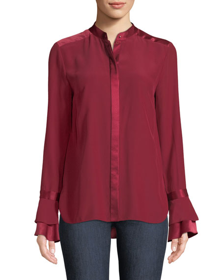 Safiya Silk Button-Front Blouse