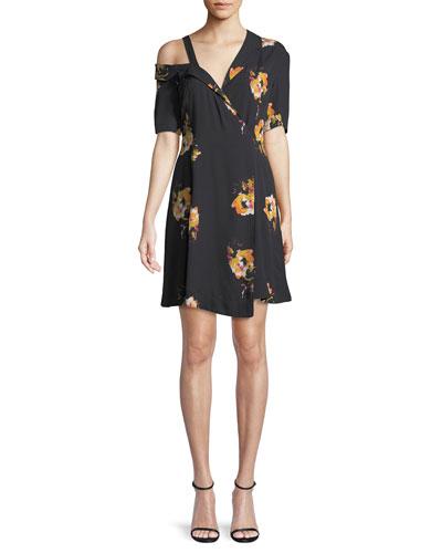 Lucia Off-the-Shoulder Floral Silk Mini Dress