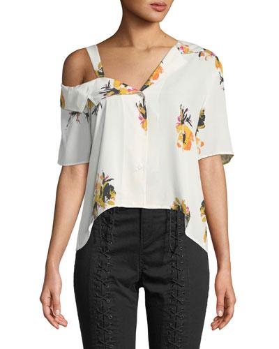 Bronte One-Shoulder Floral Button-Front Top