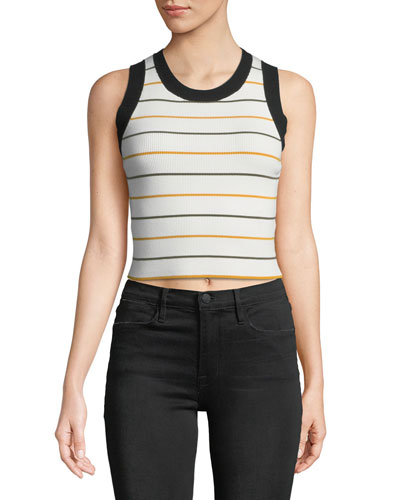 Rita Striped Ribbed Crop Top