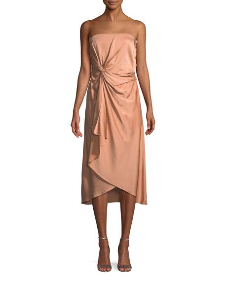 Roya Strapless Knot-Front Midi Dress