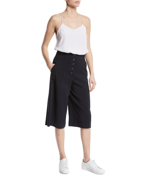 Roy Cropped Button-Fly Wide-Leg Pants