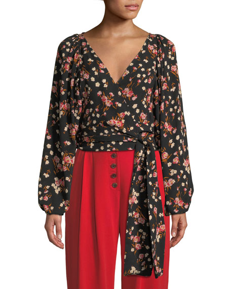 Carla Floral Silk Wrap-Front Top
