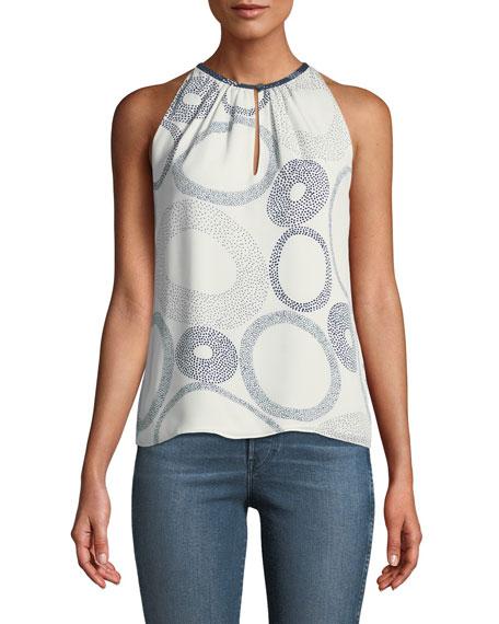 Safi Piper Dot-Print Silk Halter Top