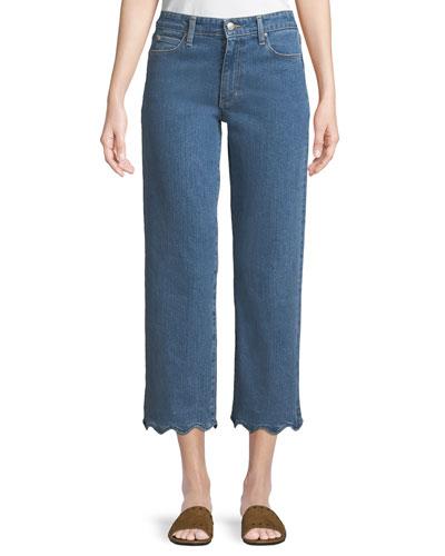 Kenzy Wavy-Hem Straight-Leg Jeans
