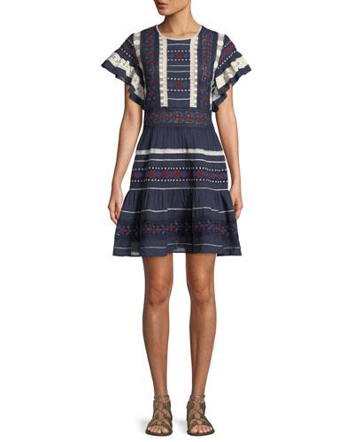 Ilia Short-Sleeve Lace Cotton Tunic Dress