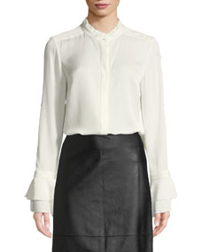 Teddie Ruffled Trim Silk Blouse by Elie Tahari