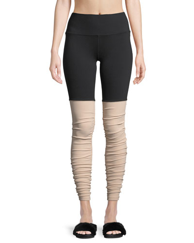 Goddess Shirred High-Rise Performance Leggings