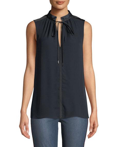 Elie Tahari Milla Tie-Neck Sleeveless Silk Blouse