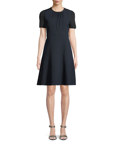 Caliana Ruched Jewel-Neck Short-Sleeve Fit-and-Flare Crepe Dress