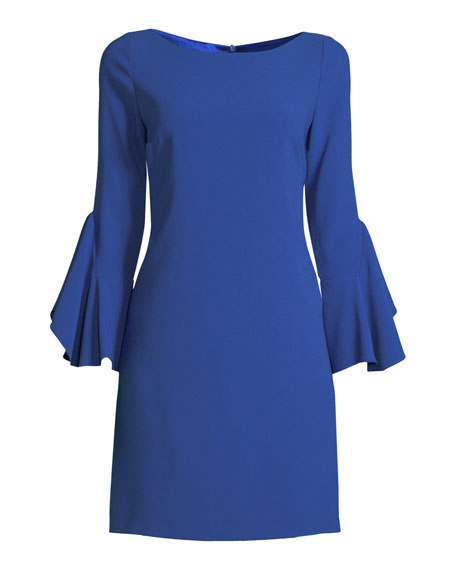 Dori Boat-Neck Flared-Sleeve Crepe A-Line Dress