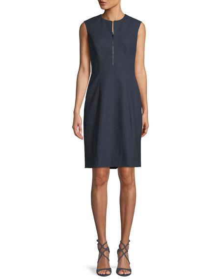 ELIE TAHARI Galiena Zip-Front Sleeveless Tonal Plaid Sheath Dress in Navy Multi