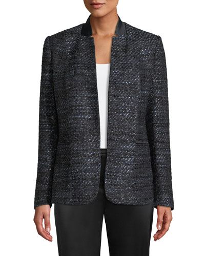 Tori Hook-Front Metallic Tweed Jacket