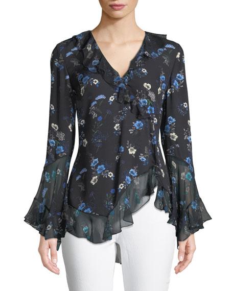 Elie Tahari Halima V-Neck Long-Sleeve Ruffled Floral-Print Silk