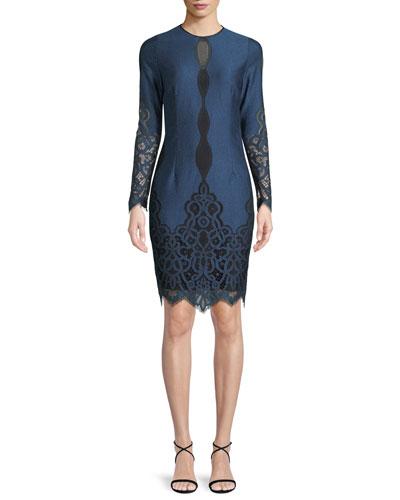 Pepper Jewel-Neck Long-Sleeve Jacquard Lace Dress