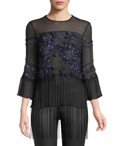 Aslin Long-Sleeve Embellished Silk Blouse w/ Fringe Hem