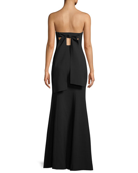 Avalina Strapless Gown w/ Double-Slit Skirt