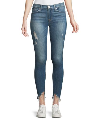 Nico Mid-Rise Skinny-Leg Jeans w/ Raw Zip Hem