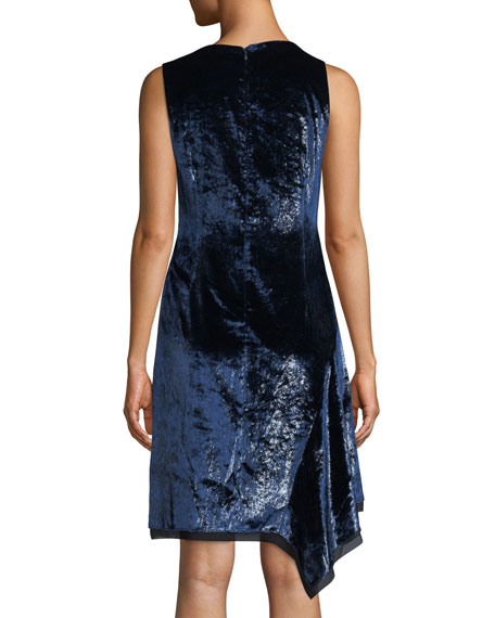 Serenity Round-Neck Sleeveless Velvet Shift Dress