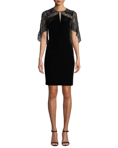 Essence Velvet Dress with Chiffon Sleeves