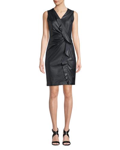 Marsala Ruffled Leather & Ponte Dress