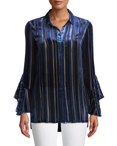 Elie Tahari Button-Front Draped-Sleeve Striped Velvet Burnout