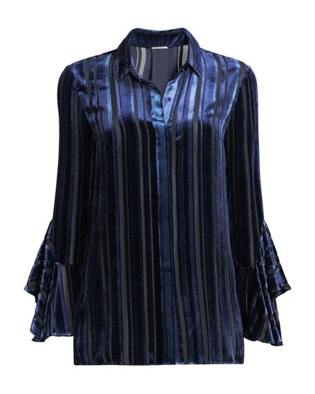 Button-Front Draped-Sleeve Striped Velvet Burnout Blouse