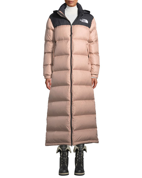 6ef921e8f Nuptse Long Duster Puffer Coat w/ Packable Hood