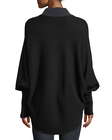 Dorita High-Neck Blouson-Sleeve Colorblocked Merino Sweater