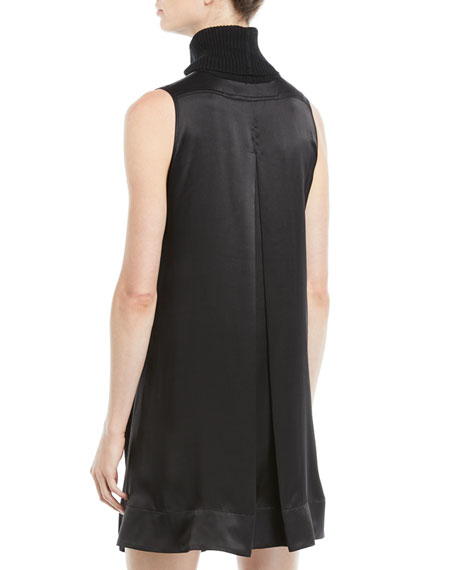 Sonya Turtleneck Sleeveless Merino Wool Satin-Back A-Line Dress