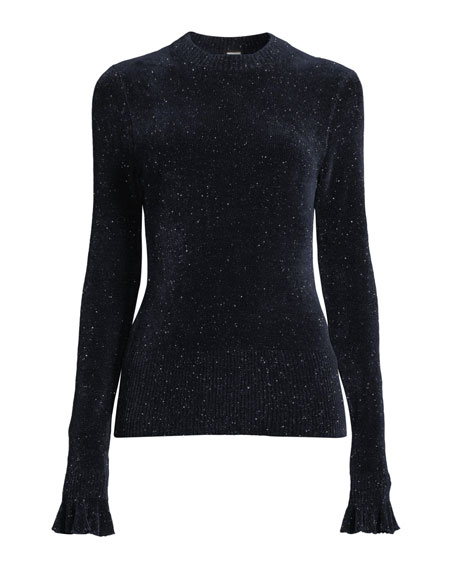 Embla Crewneck Long-Sleeve Speckled-Knit Sweater